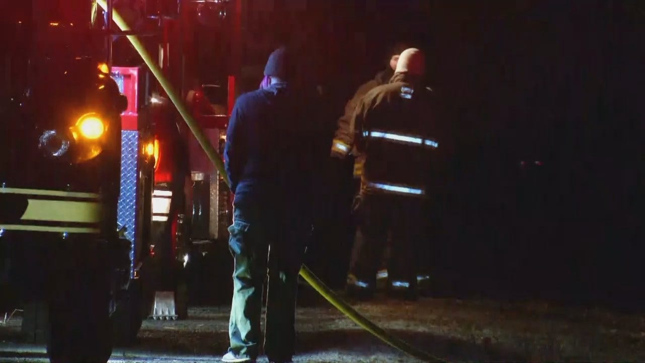 WEB EXTRA: Video From Scene Of Wagoner County Mobile Home Fire