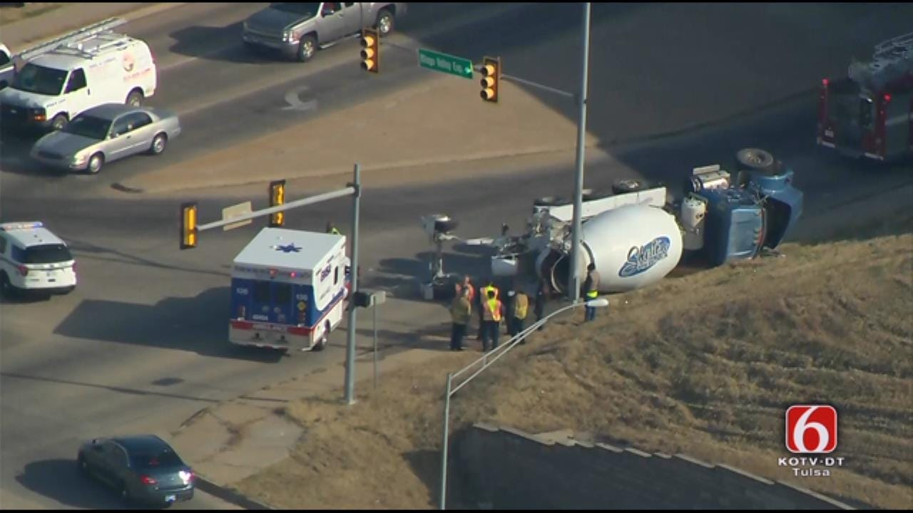 Osage SkyNews 6 HD: Concrete Mixer Tips Over On Tulsa Street