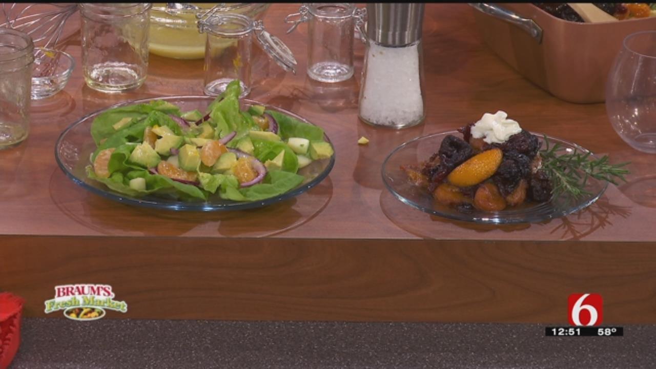 Savory Fruit Over Pound Cake & Orange Salad Dressing