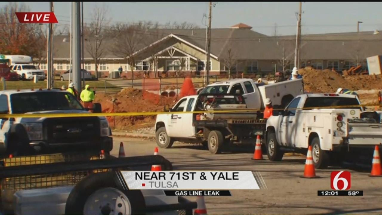 Building Evacuated After Crews Hit Gas Line Near 71st And Yale In Tulsa