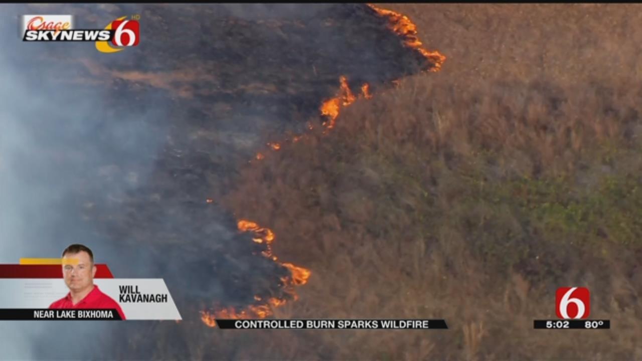 Strong Winds Whipping Leonard Mountain Grass Fire