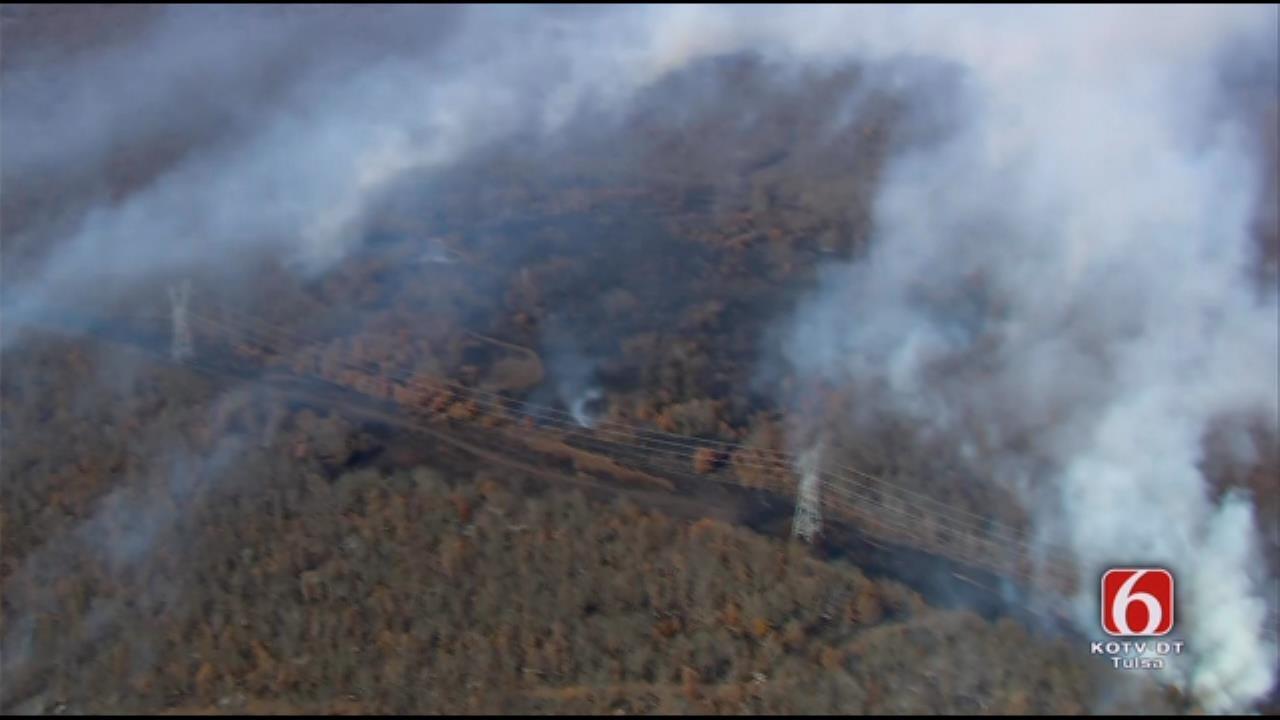 Osage SkyNews 6 HD Flies Over Bixby Area Grass Fire