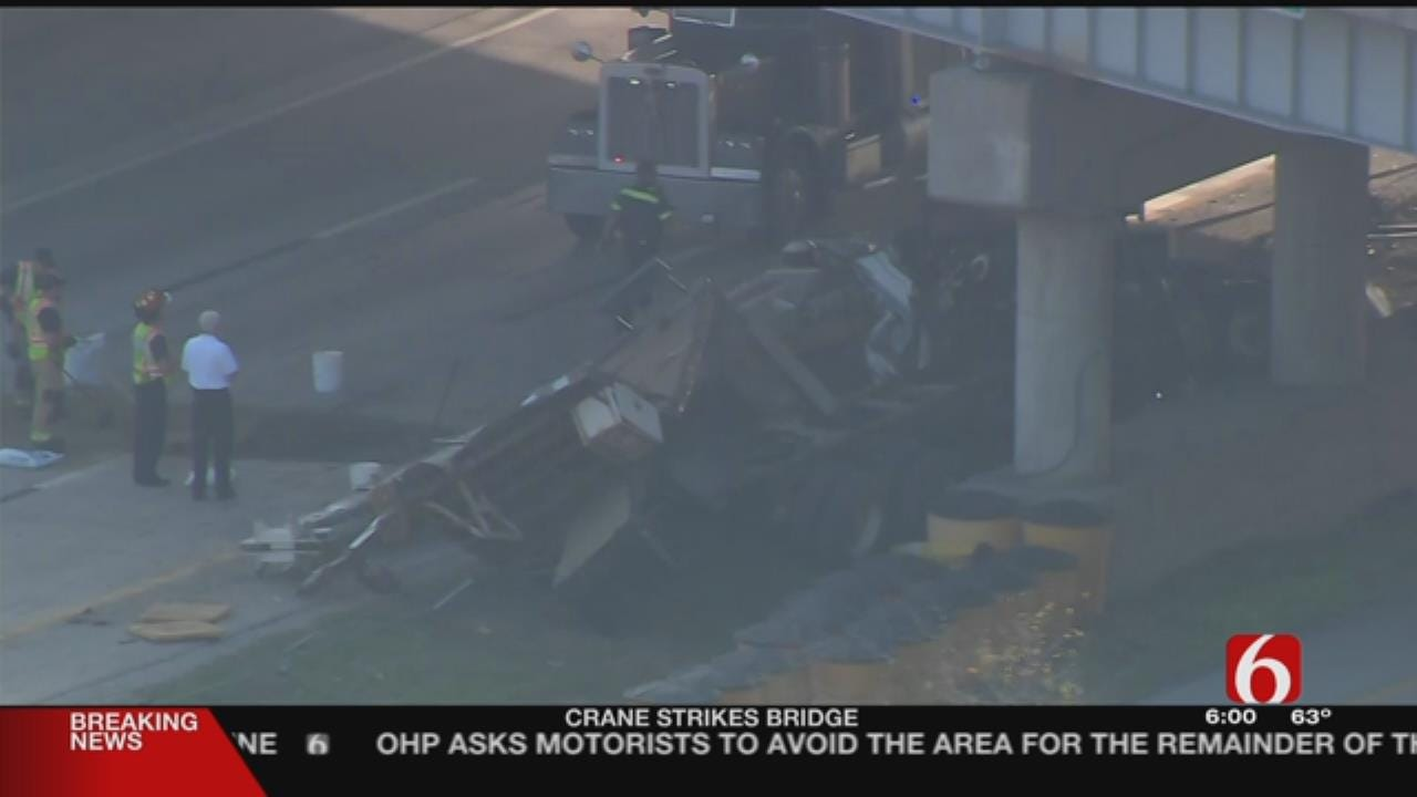 Truck Carrying Crane Hits Overpass On Highway 412 At 65th West Avenue