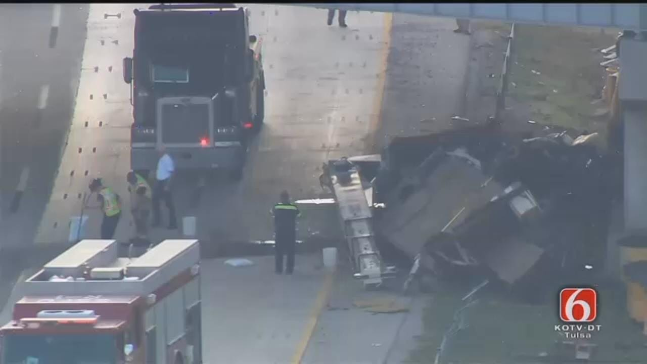 WEB EXTRA: Osage SkyNews 6 HD Flies Over Crane That Hit Tulsa Overpass
