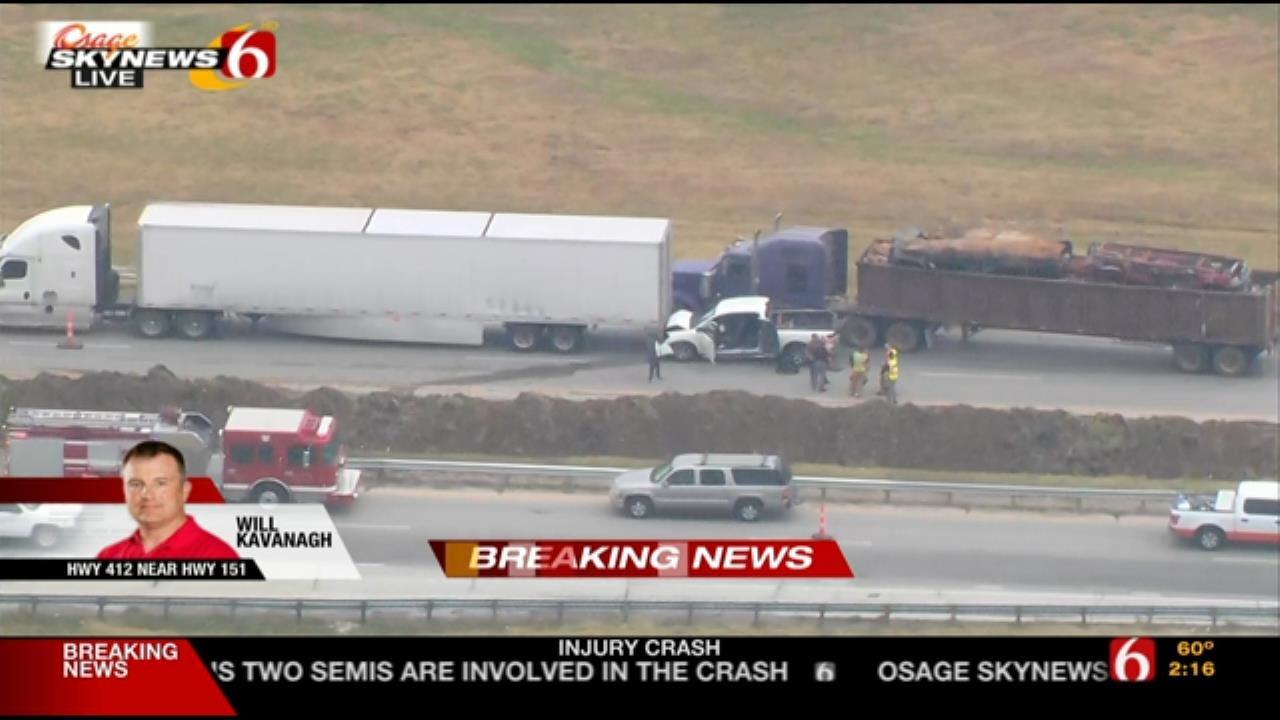 WEB EXTRA: Four-Vehicle Wreck On Highway 412 Near Keystone Lake
