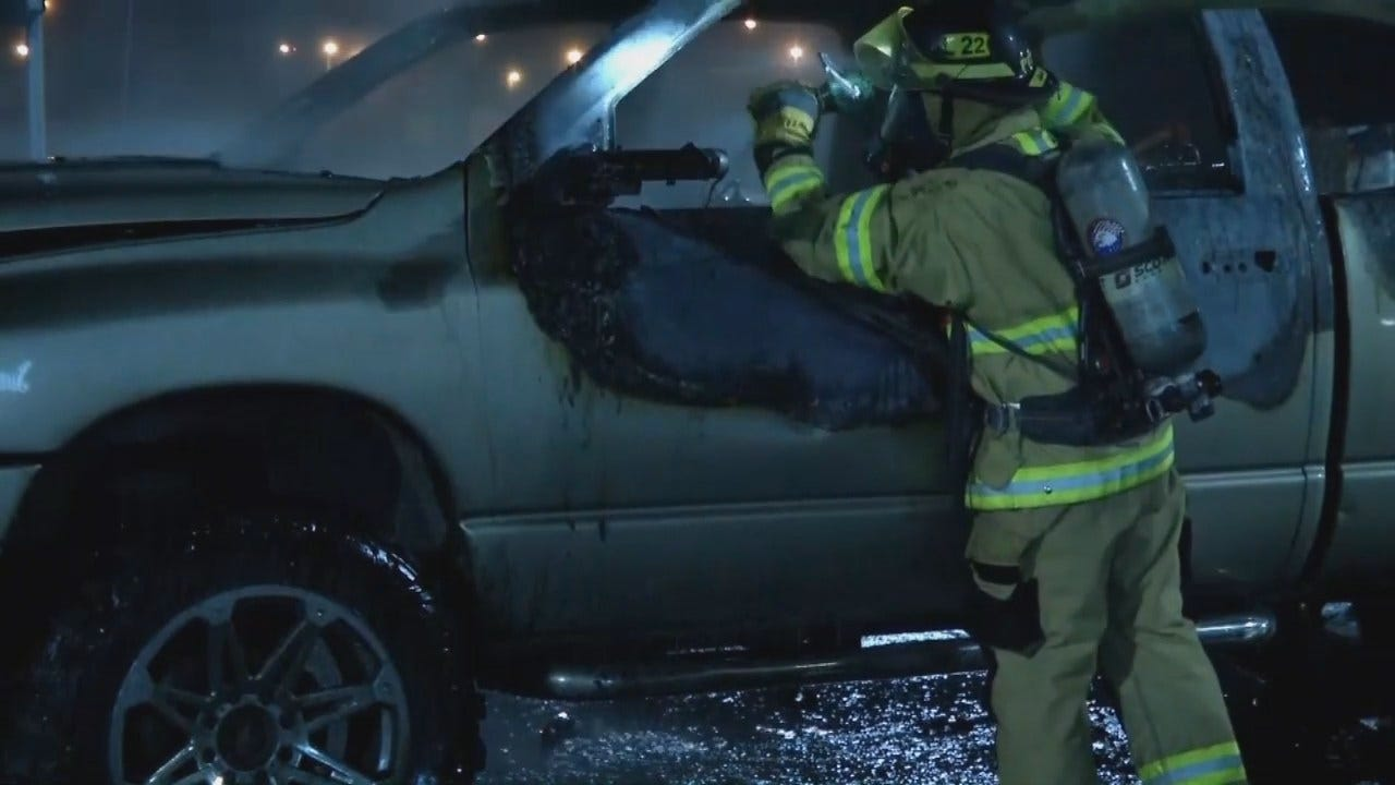 WEB EXTRA: Tulsa Pickup Truck Fire