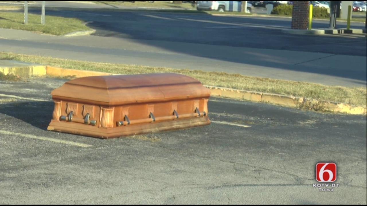 WEB EXTRA: Abandoned Casket In Tulsa parking Lot