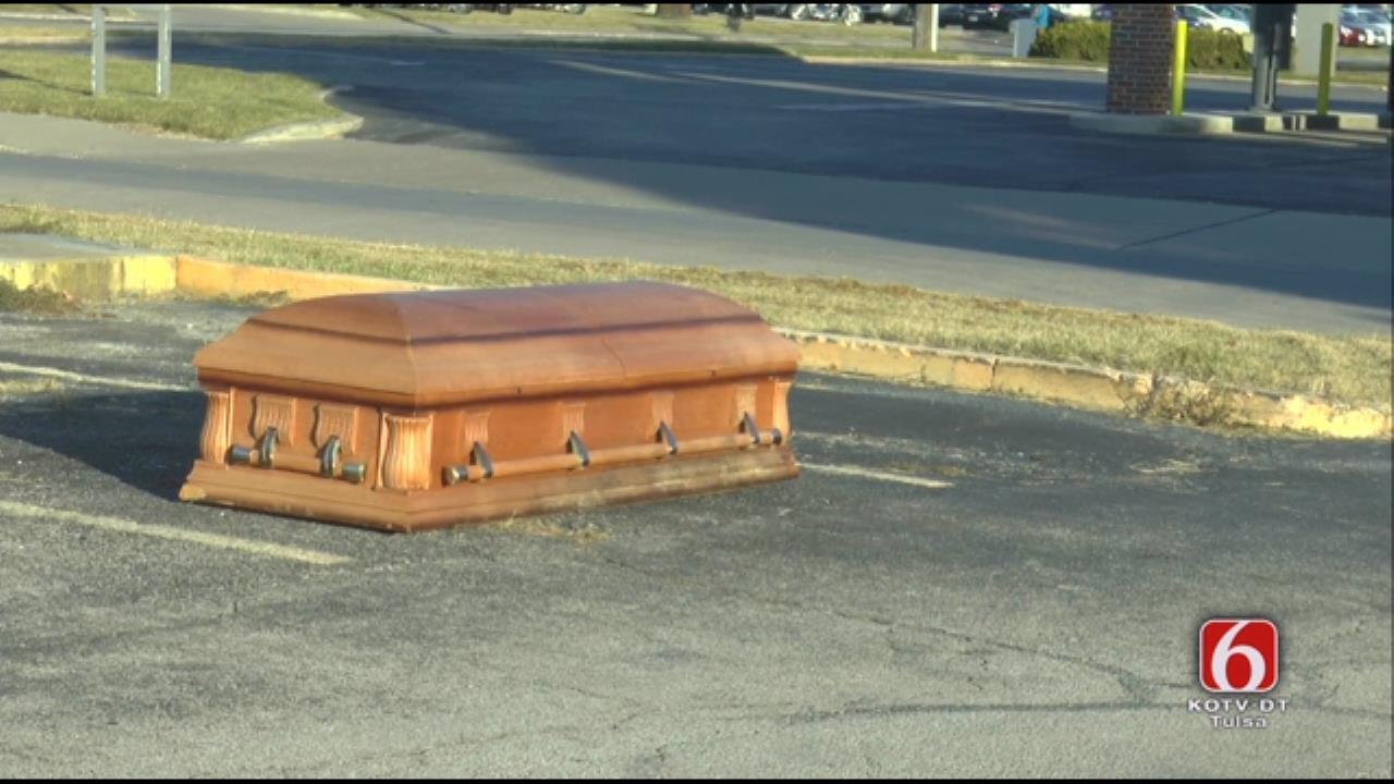 WEB EXTRA: Empty Casket Found In Tulsa Parking Lot
