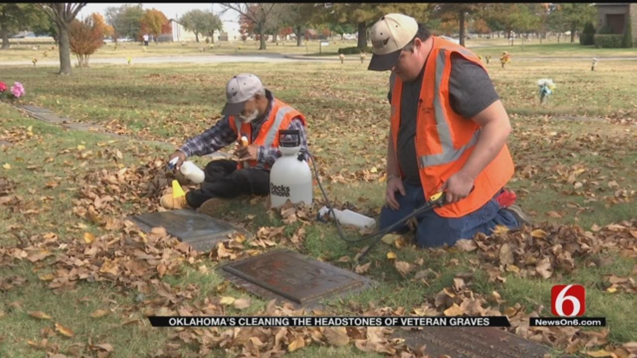 Non-Profit Cleaning Veterans' Headstones In Tulsa Cemetery