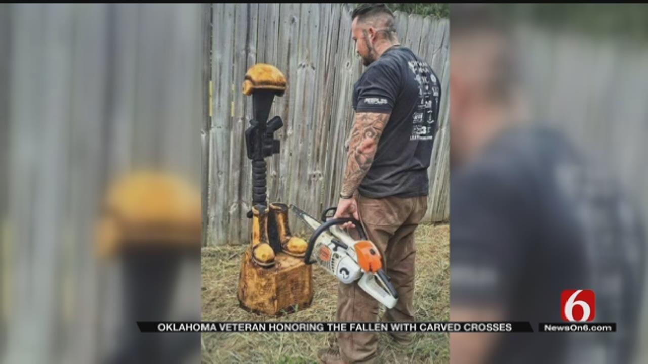 OK Marine Veteran Carving, Delivering 'Battlefield Crosses' For Fallen Comrades