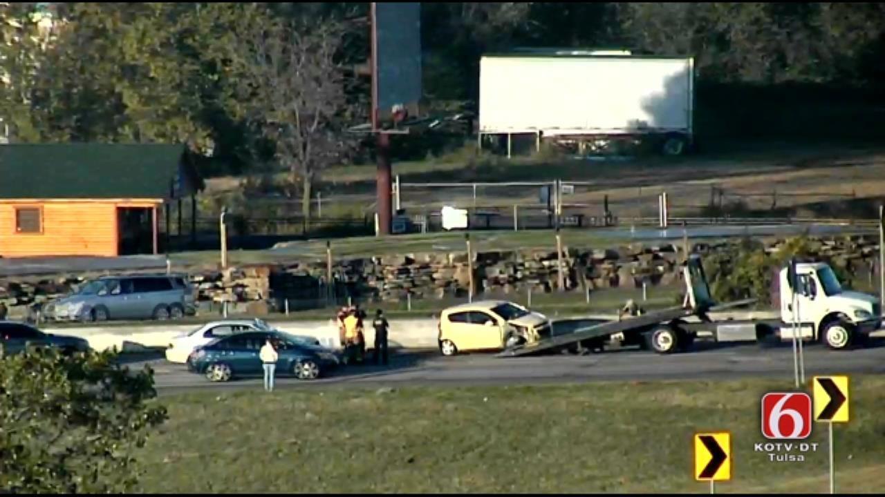 WEB EXTRA: Two-Car Crash Snarls Traffic On Tulsa Highway 169