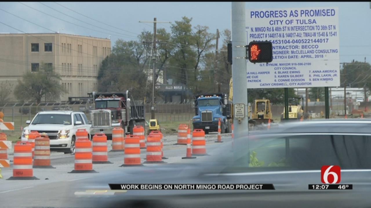 Waterline Work Narrows North Mingo Road In Tulsa