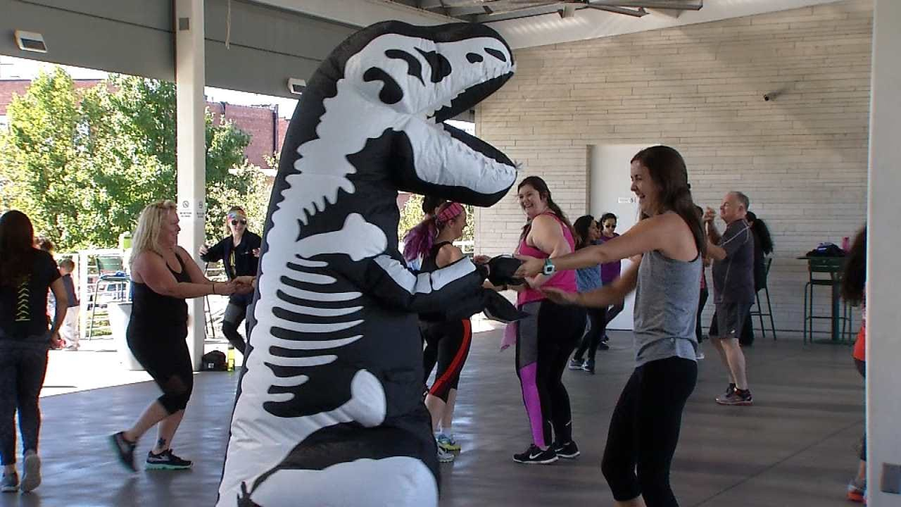 T-Rex Hits Guthrie Green, Spices Up Workout With Dance Moves