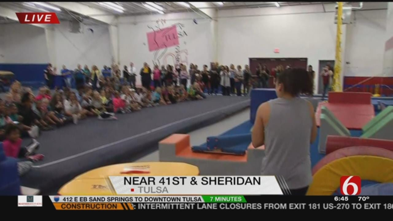 Olympian Visits Tulsa Gymnasts