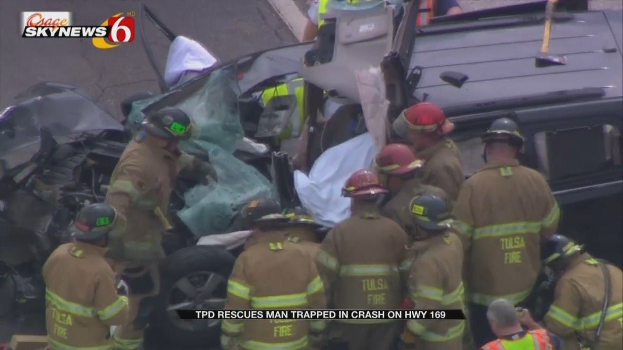 Man Pinned In Car Rescued By Tulsa Crews