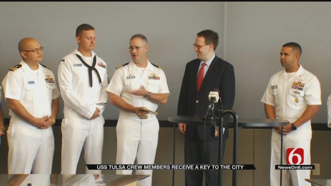 Mayor Presents Keys To City To Navy Sailors Of USS Tulsa