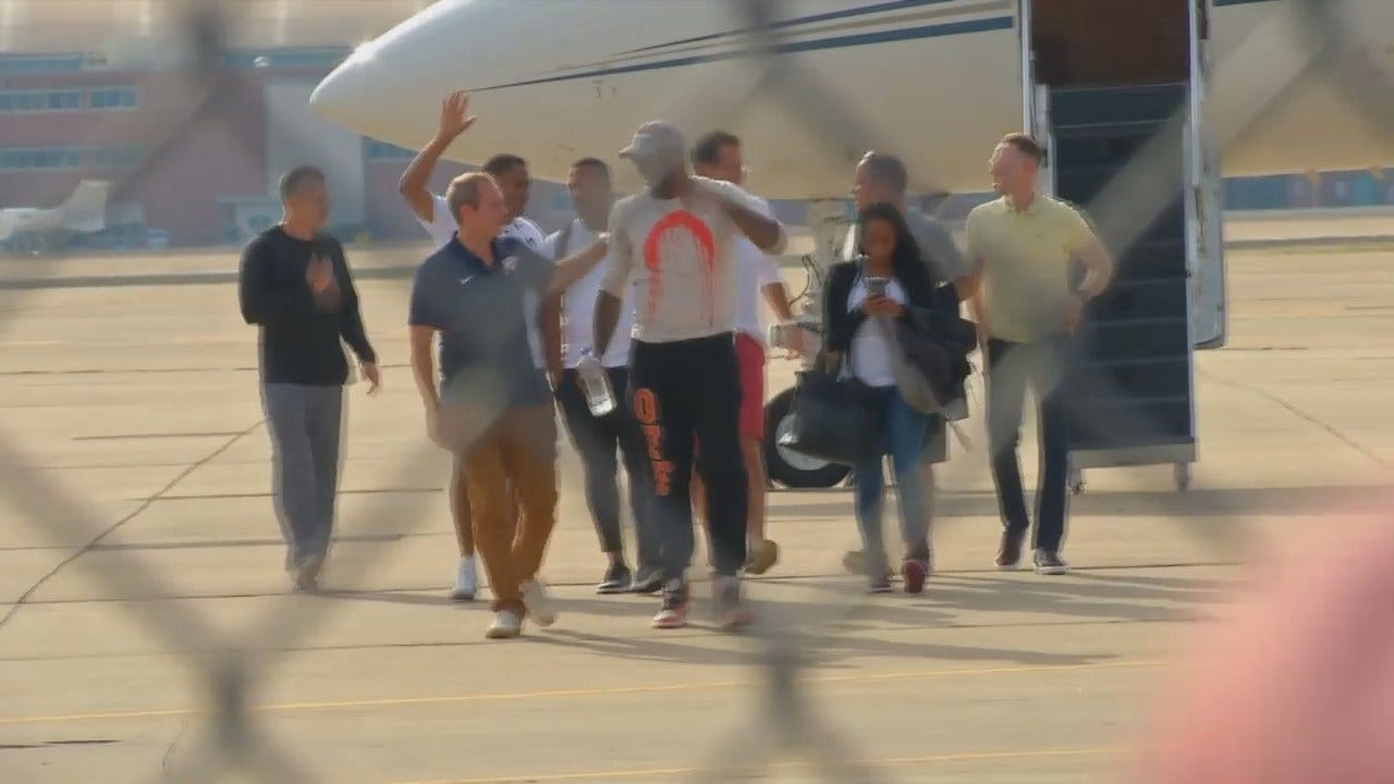 WEB EXTRA: Video Of Carmelo Anthony Arriving In OKC