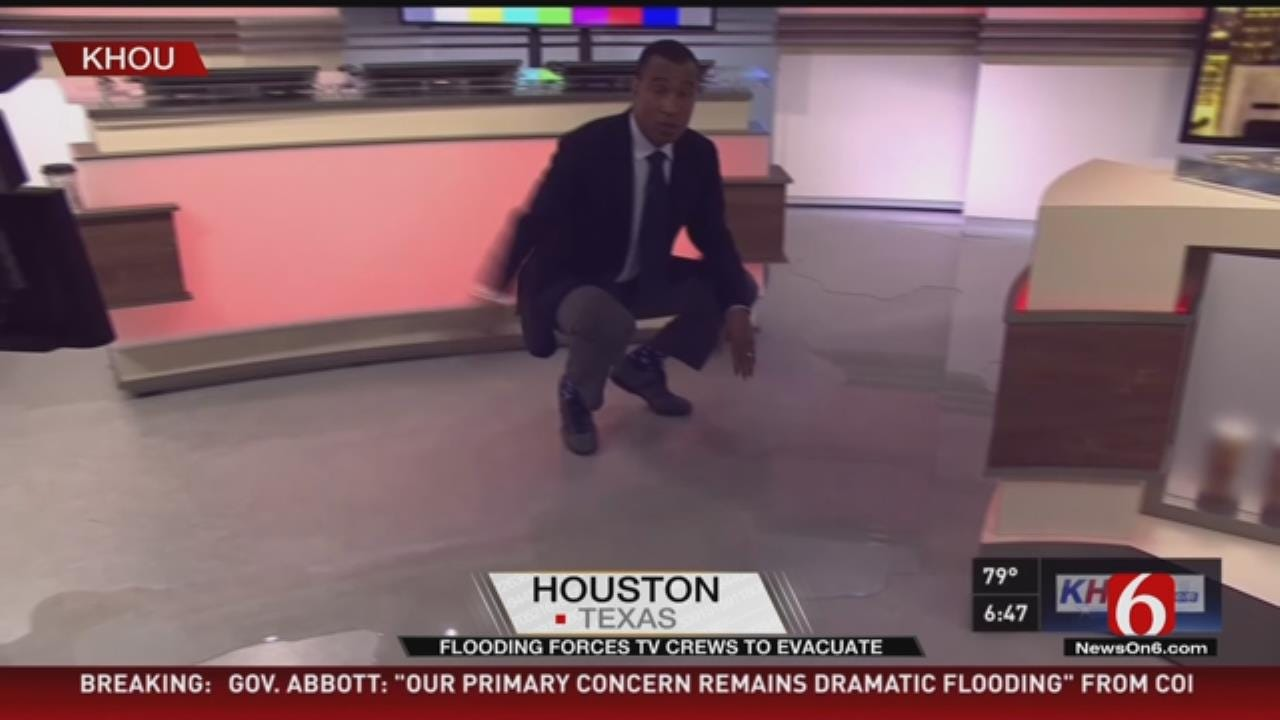 Houston TV Station Floods In Middle Of Storm Coverage