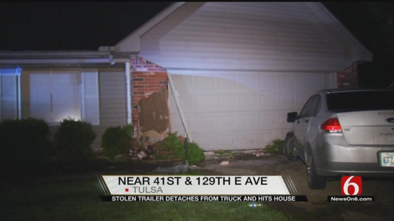 Stolen Trailer Comes Loose From Vehicle, Slams Into Tulsa Home