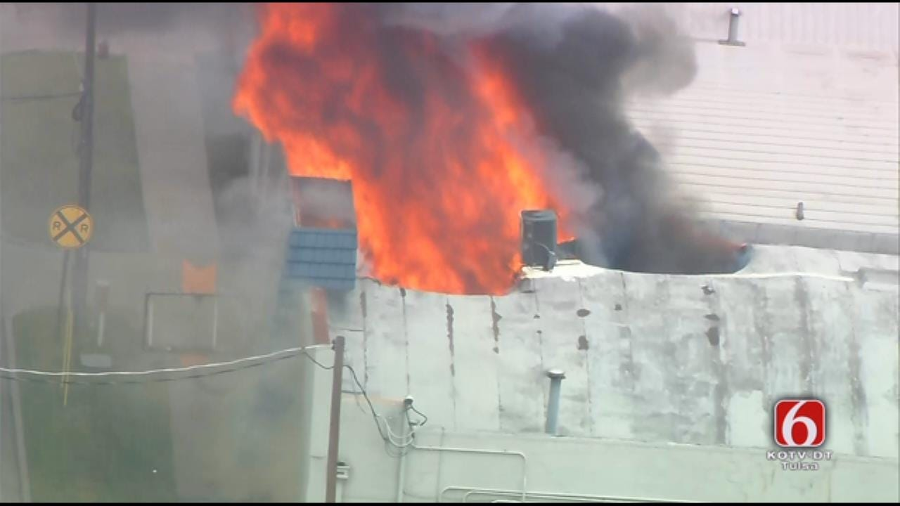 Osage SkyNews 6 HD Flies Over Tulsa Building Fire