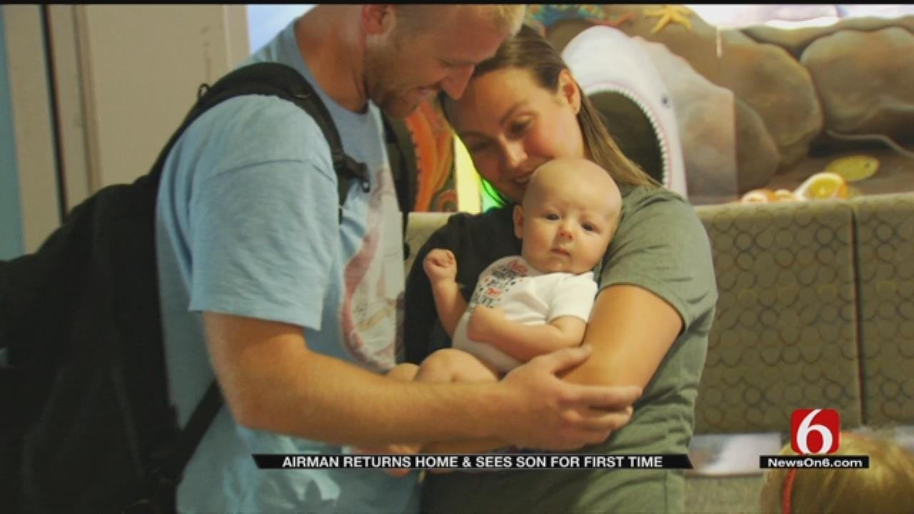 Tulsa Airman Sees Son For First Time When He Returns From Overseas Deployment