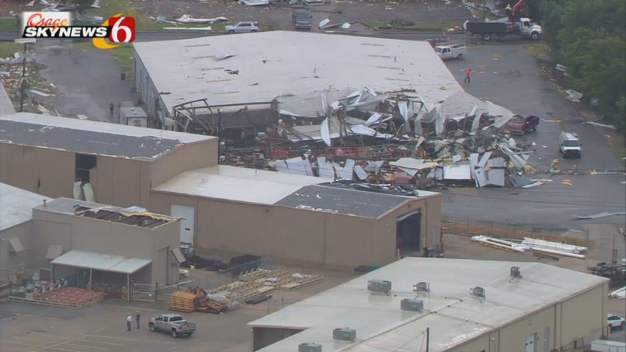 Osage SkyNews 6 HD Flys Over Tulsa Tornado Damage