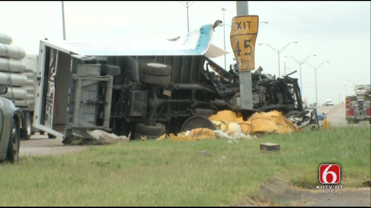 WEB EXTRA: Truck Crashes Into Tulsa Exit Sign