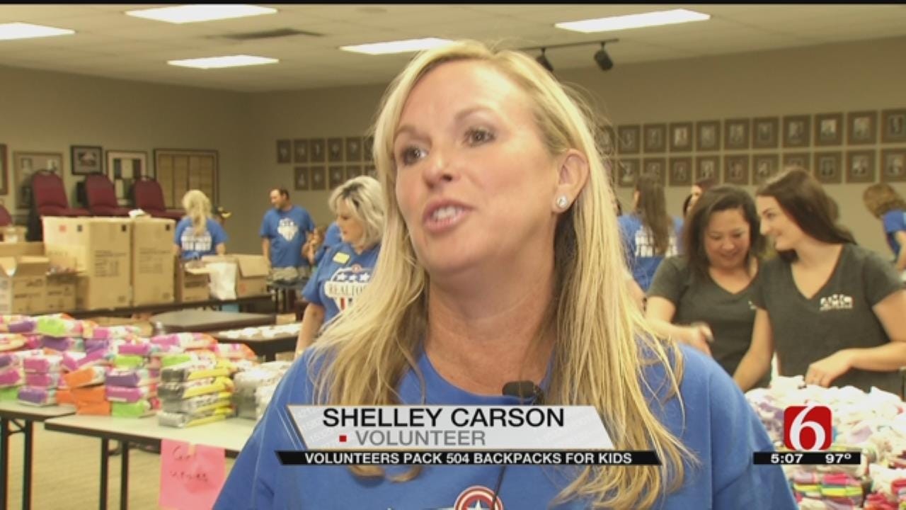Tulsa Realtors Give Backpacks Filled With Clothes, Shoes To Kids In Need