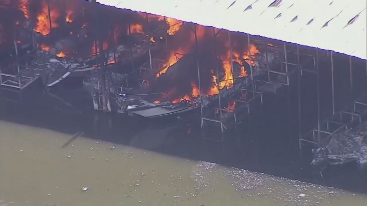 WEB EXTRA: Marina, Boats Destroyed In Fire At Lake Texoma