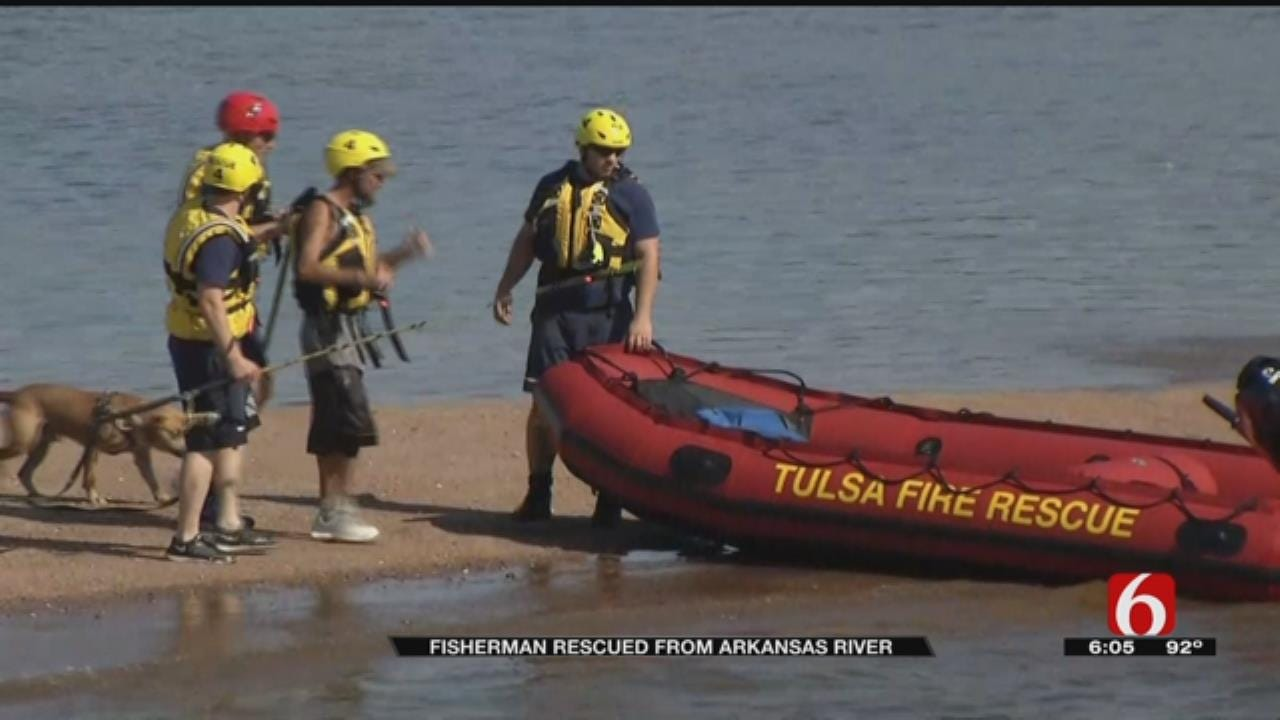 Tulsa Firefighters Rescue Fisherman From Arkansas River
