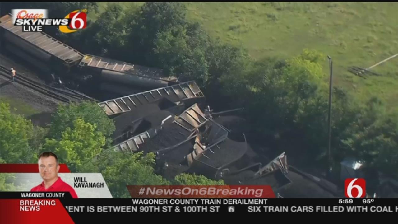 Derailed Train Blocks Road In Wagoner County