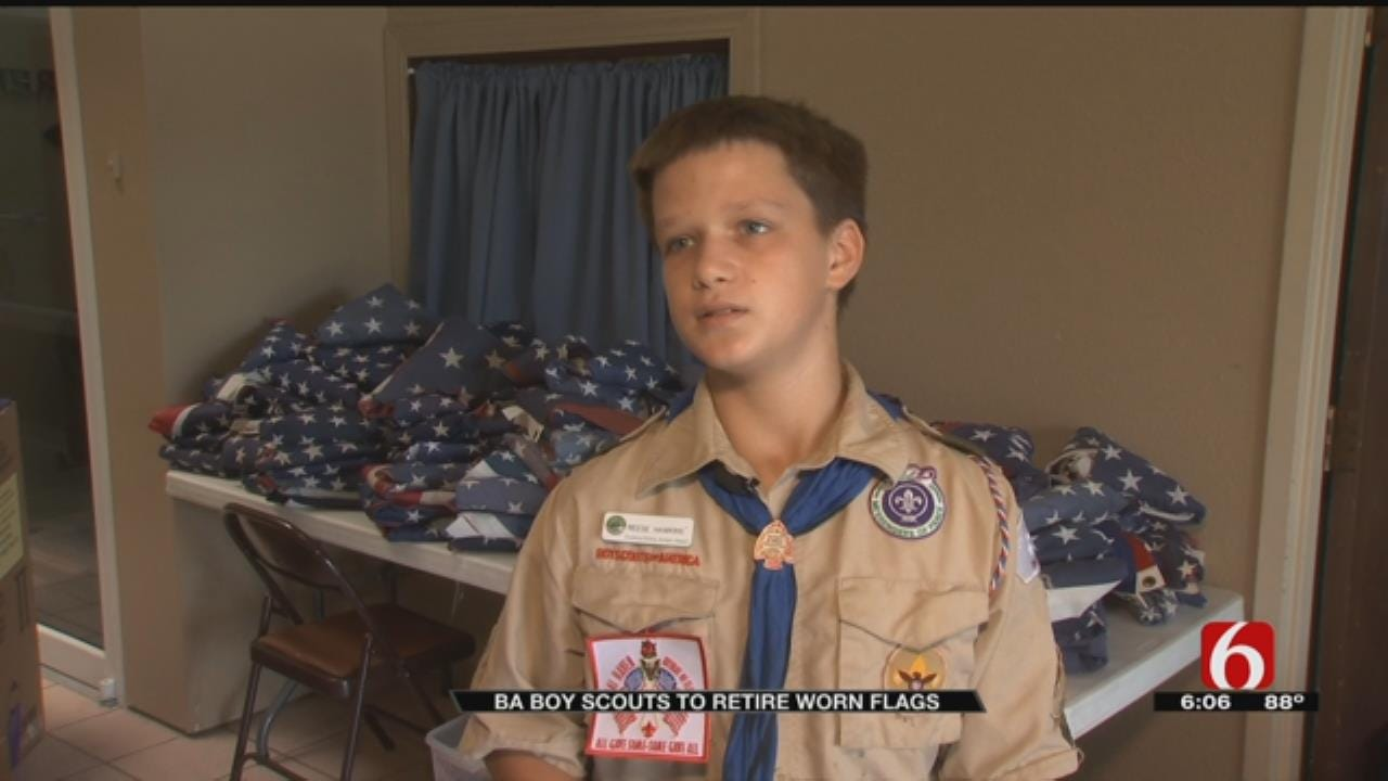 Broken Arrow Boy Scouts Collecting Flags Needing To Be Retired