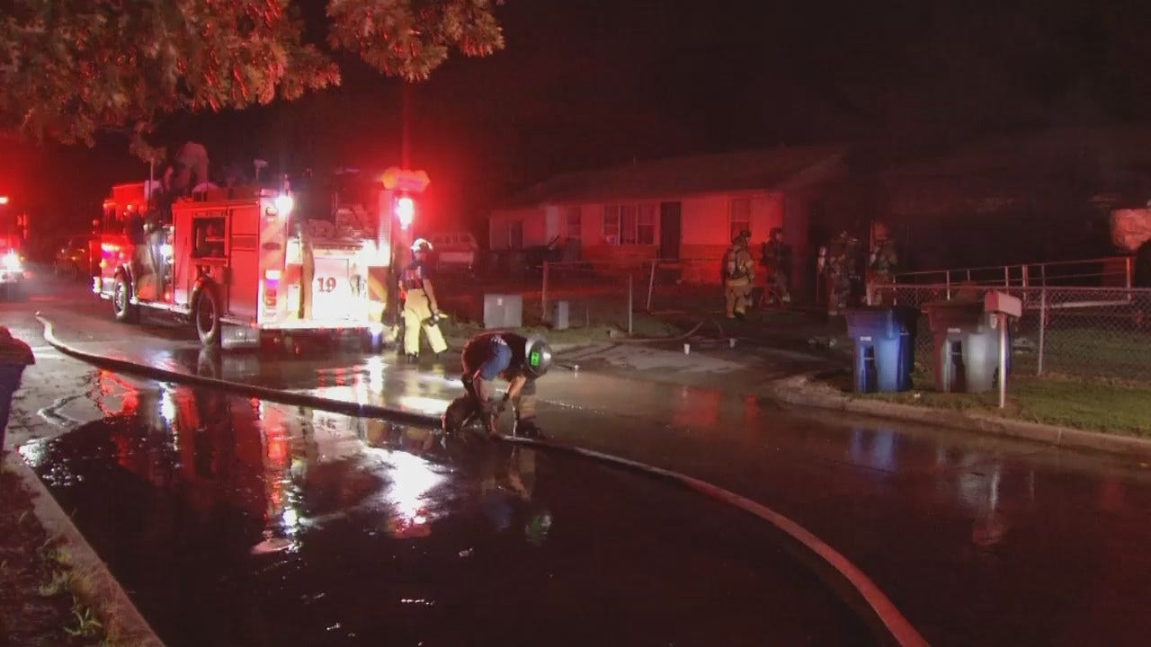 WEB EXTRA: Video From Scene Of Tulsa Home Garage Fire