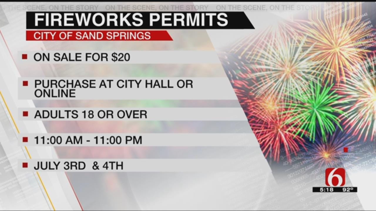 Fireworks Permits Now Available In Sand Springs