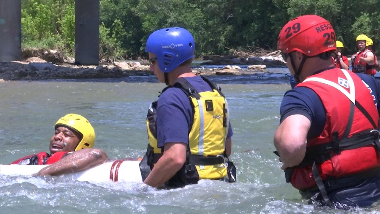 Tulsa Fire Academy Challenges Cadets With Swift Water Rescue Training