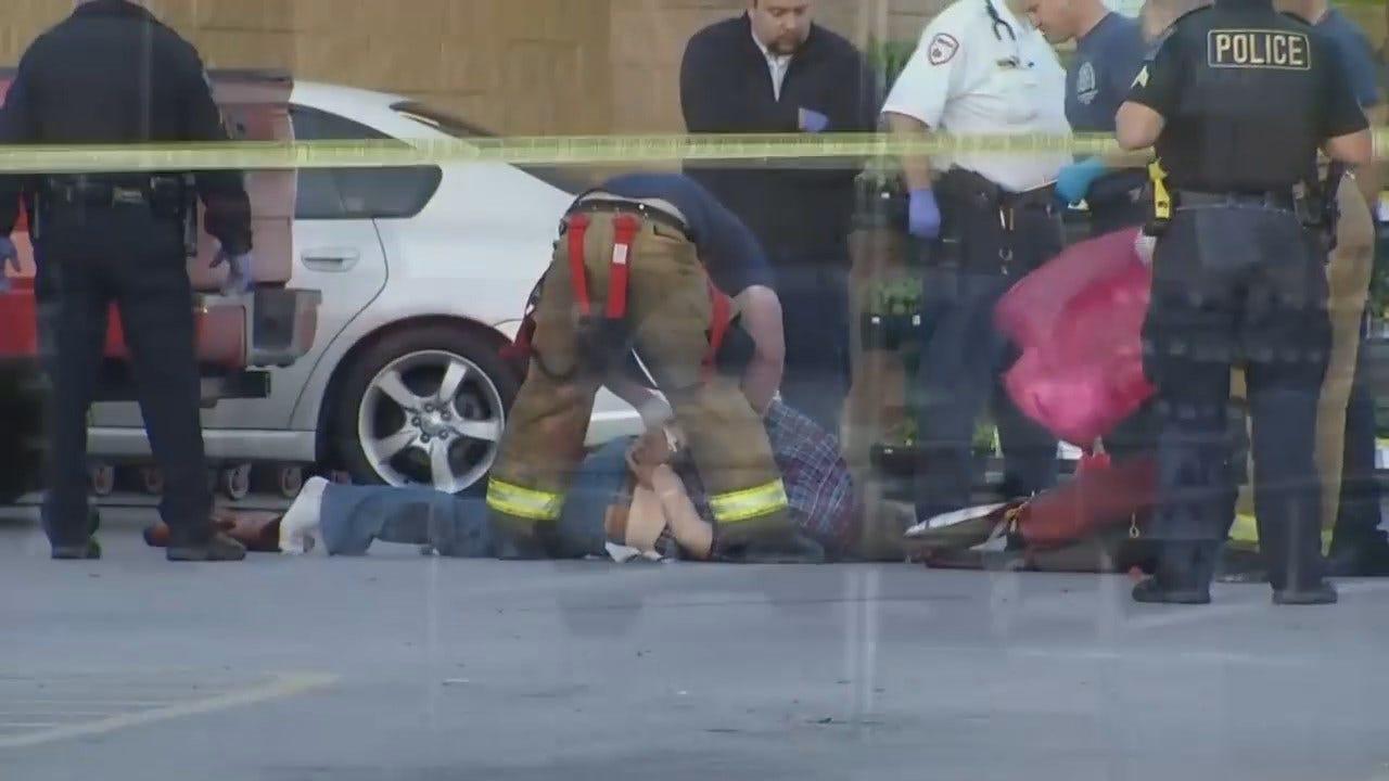 WEB EXTRA: Video Of Crime Scene Outside Tulsa Walmart