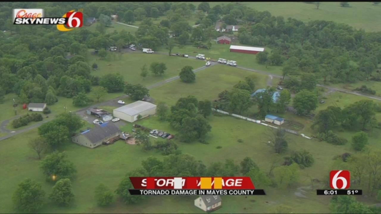 Mayes County Tornado Damage As Seen From Osage SkyNews 6 HD
