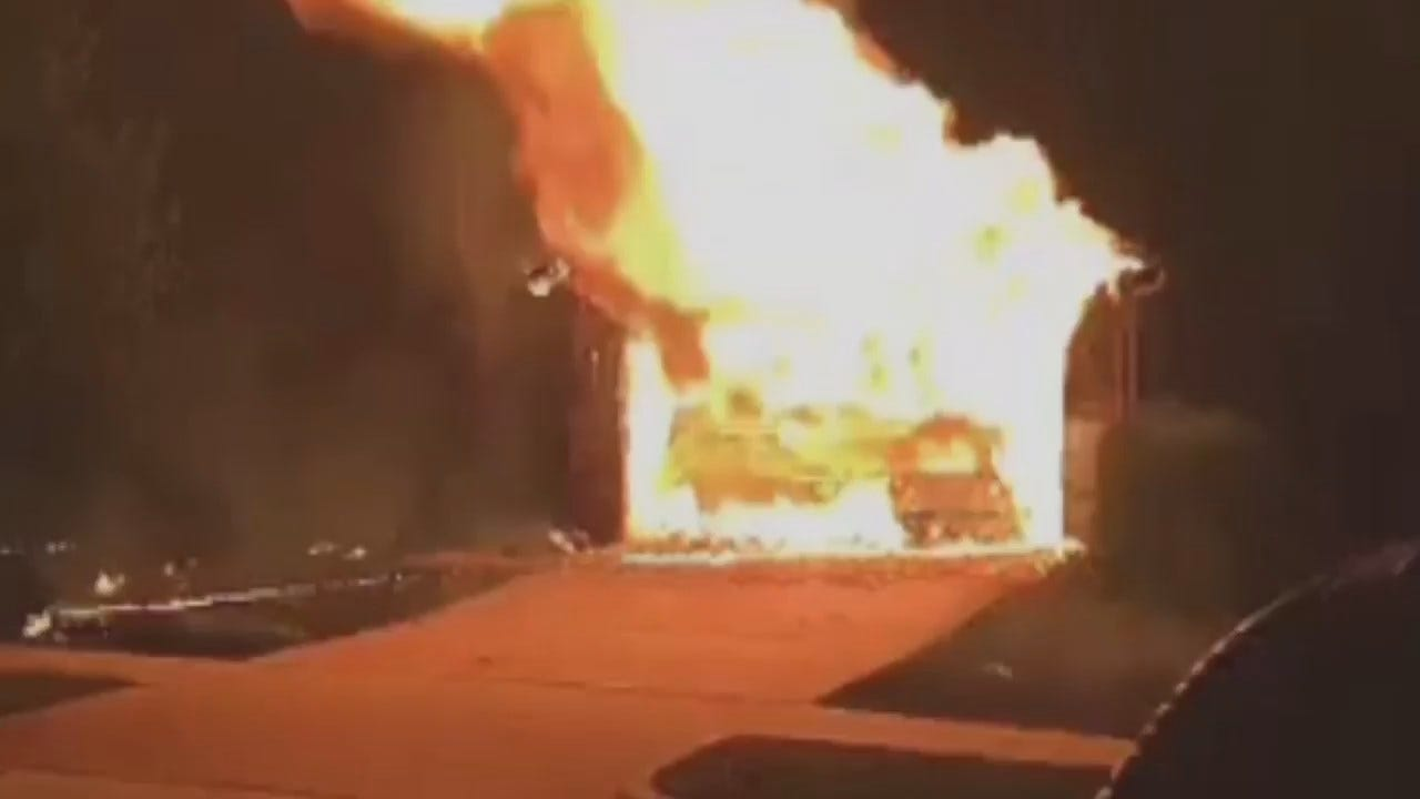WEB EXTRA: Neighbor's Video Of Jenks House Fire