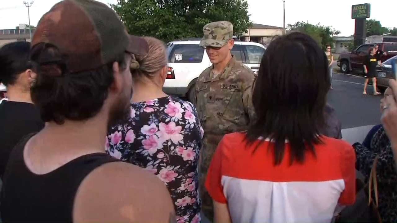 Dozens Welcome Muskogee Soldier Home After Fourth Deployment