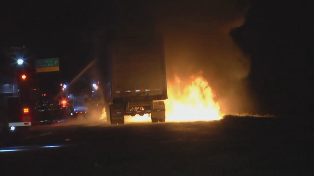 WEB EXTRA: Video Of Semi Fire On Highway 75