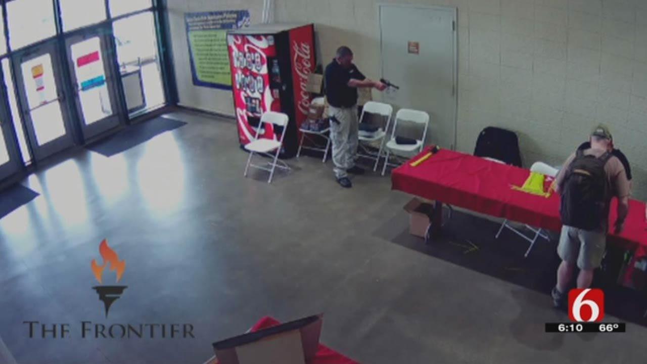 Surveillance Footage Of Shooting At Wanenmacher's Tulsa Arms Show