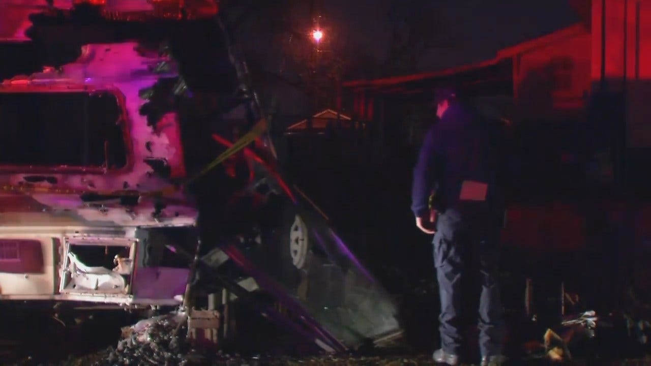 WEB EXTRA: Video From Scene Of Fatal Tulsa RV Fire