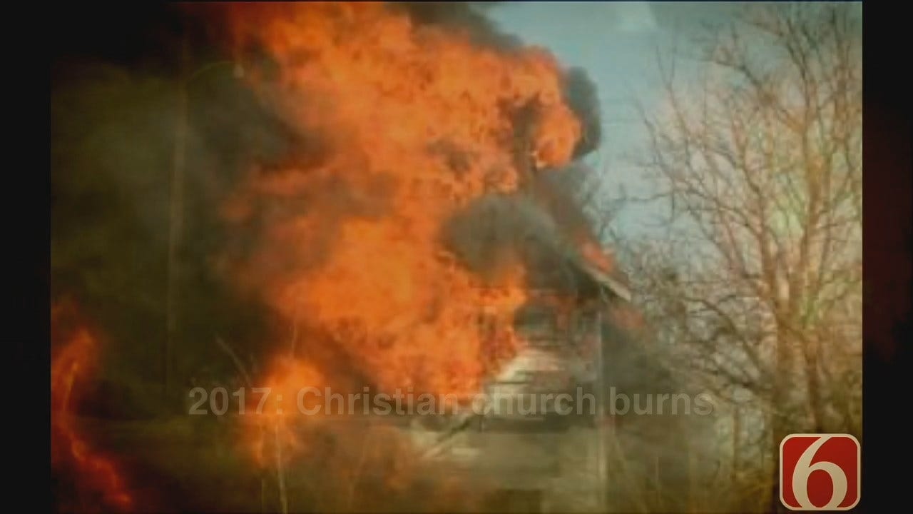 WEB EXTRA: Fire Destroys Abandoned Church In Picher