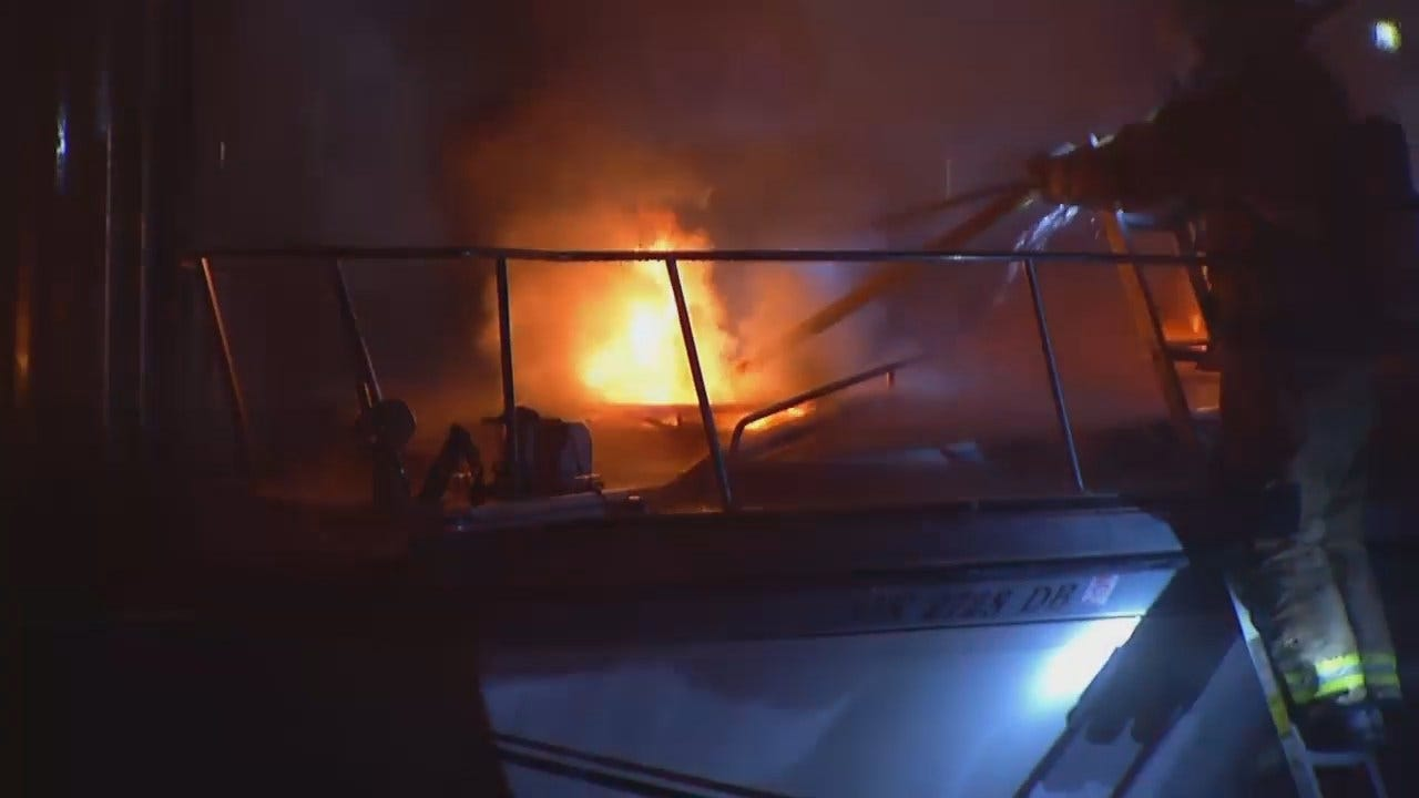 WEB EXTRA: Video From Tulsa Boat Fire