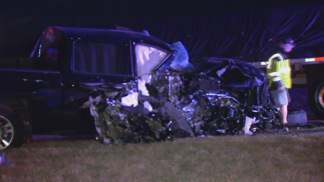 WEB EXTRA: Video From Scene Of East Tulsa Pickup-Semi Crash