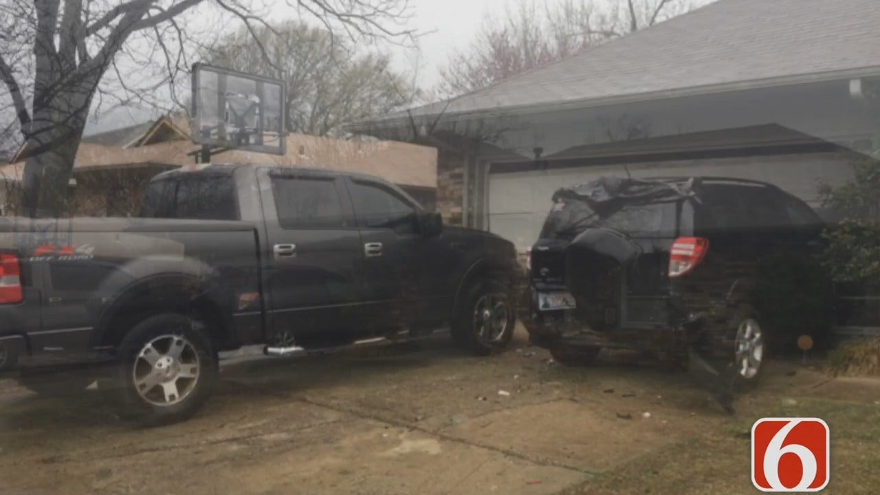 Amy Slanchik Reports Car Crash Damages Two Vehicles At Tulsa County Deputy's Home