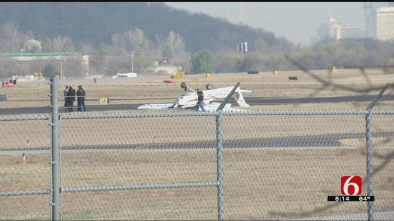 Small Plane Flips Over At Jones Riverside Airport