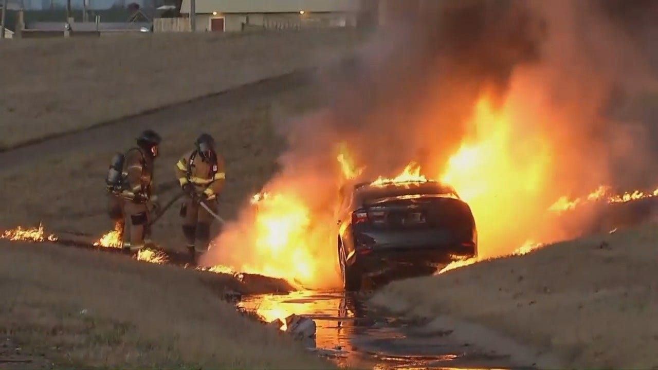 WEB EXTRA: Car Destroyed By Fire After Crash On I-44 In Tulsa