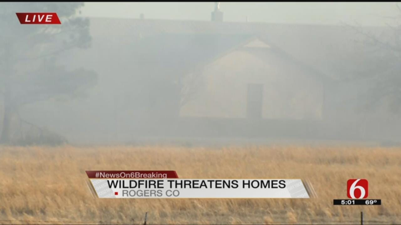 Large Grass Fire Threatens Homes Near Talala