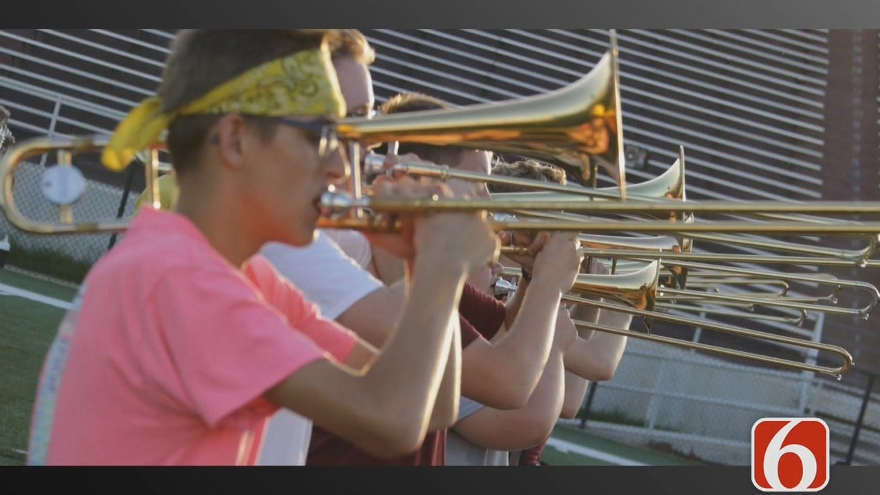 Close Up Look At The Pride Of Jenks Trojan Pride Marching Band